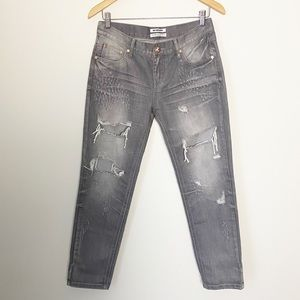 One Teaspoon Awesome Baggie Distressed Gray Denim